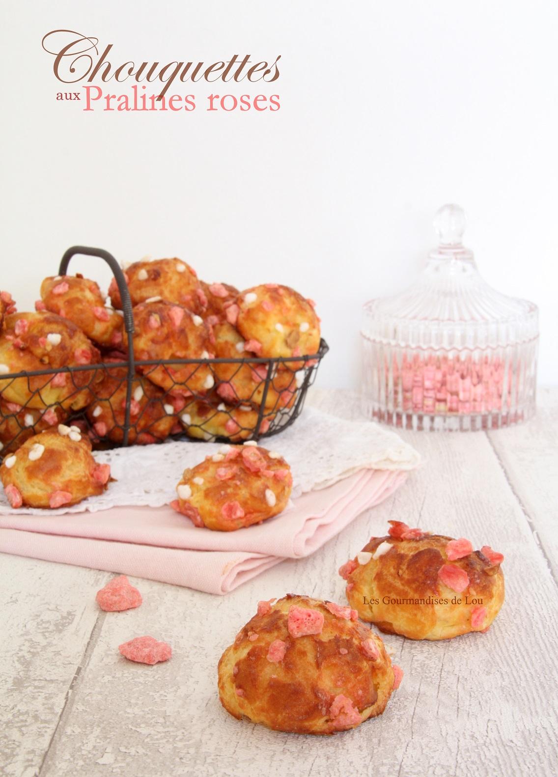Chouquettes aux pralines roses