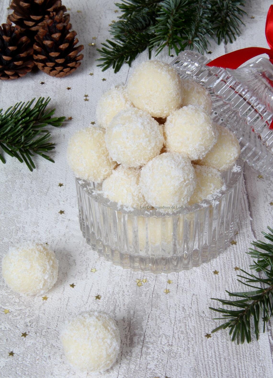 Truffes chocolat blanc noix de coco