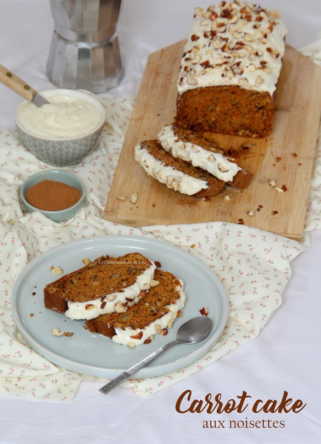 Carrot cake aux noisettes les gourmandises de lou - Recette carrot cake americain ...