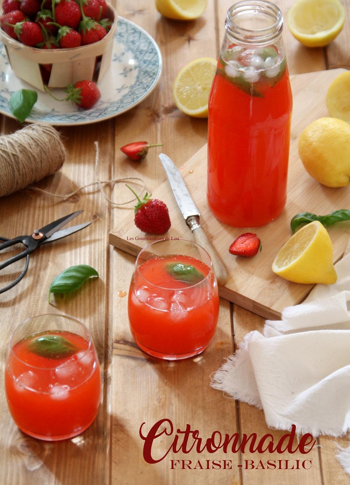 Citronnade fraise basilic