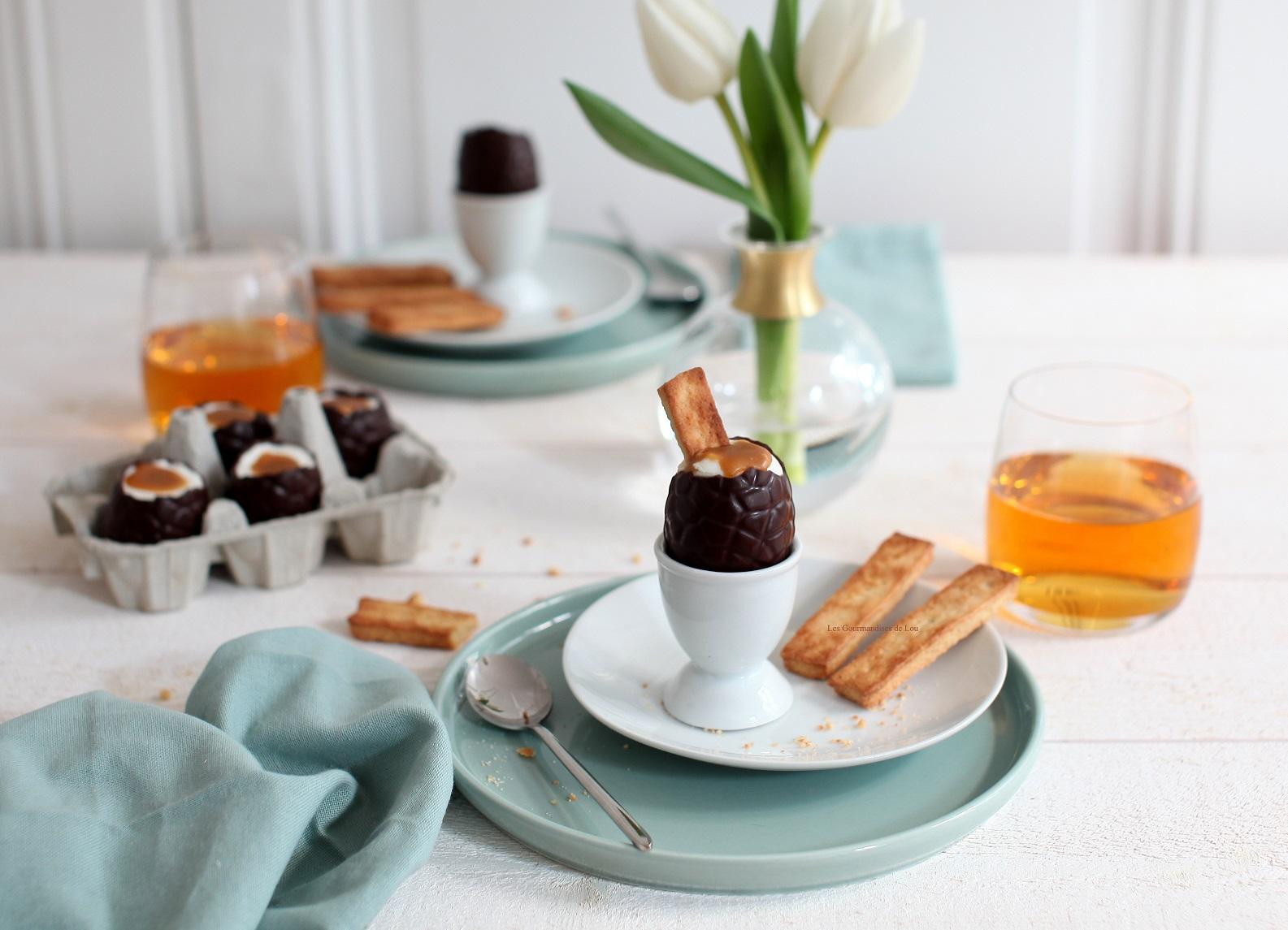 oeufs paques mousse de noix de coco caramel de cidre mouillettes au cidre