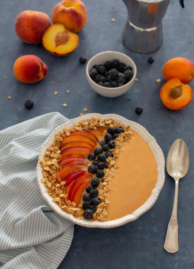 smoothie bowl peche abricot flocons d avoine