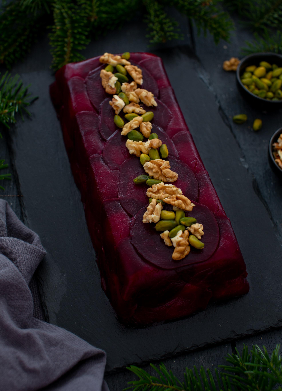 terrine betterave chevre pistache et noix