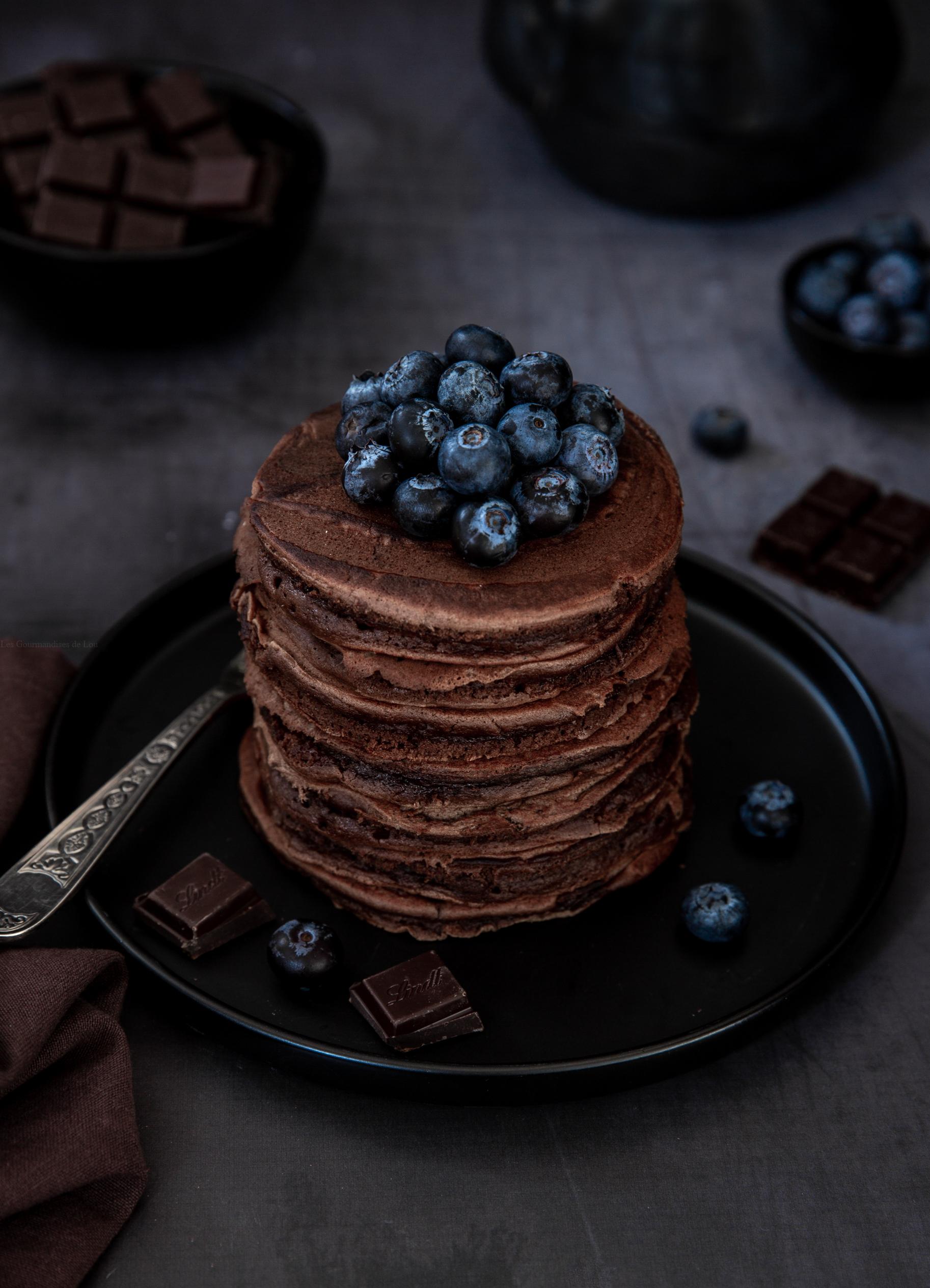 pancakes au chocolat coeur coulant