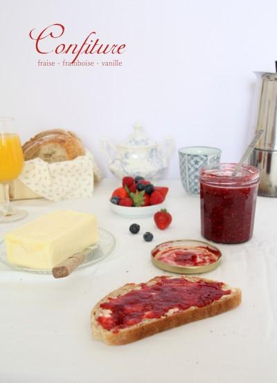 Confiture fraise - framboise - vanille