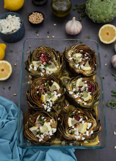Artichauts rôtis à l'huile d'olive et au citron