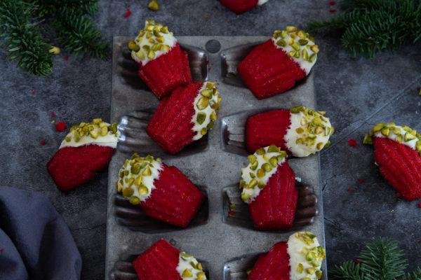 madeleines red velvet chocolat blanc pistache